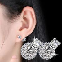 925 Sterling Silver Crystal Zircon Ball Stud Earrings For Fashion Women Jewelry