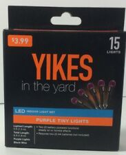 Yikes in the yard Purple Lights 15 Light Set LED Battery operated