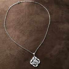 Allah Muslim Islamic Quran Real 925 Sterling Silver Necklace Pendant Charm CZ