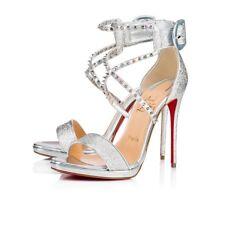 Christian Louboutin Choca Lux 120 Silver Criss Cross Strap Sandal Heel Pump 38