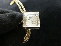 EXC Vintage Swiss Miniature Skeleton Mechanical Necklace Watch Clear Lucite Case