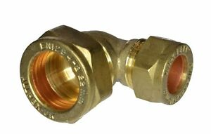22mm x 15mm Compression Reducing 90° Elbow   Brass Plumbing Fitting