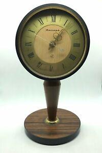 Vintage Table Quartz Wood Clock Yantar Jantar  1970-1980, USSR