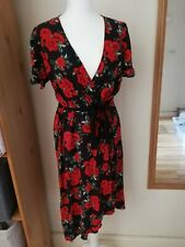 size 16 primark Red Rose wrap style Dress burleque pin up rockabilly