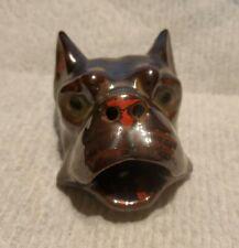 vintage handmade terracotta pottery boston terrier dog smoker cigarette ashtray