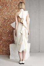 Solace London NWT Cream Asymmetric Frill Ruffle Amelle Open Back Bodycon Dress 4