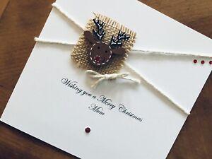 """Personalised Handmade Christmas Cards - Wooden Reindeer 6"""" X 6"""""""
