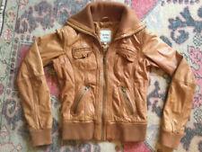Genuine Leather Jacket Brown by Bershka , Small/Medium