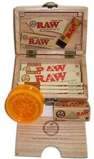 RAW Wooden Deluxe Rolling Storage Box Gift Set Organic Smoking Papers Grinder
