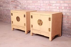 Hollywood Regency Chinoiserie Lacquered Faux Goatskin Bedside Cabinets by White