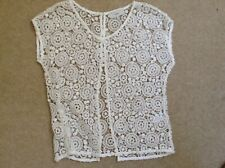 STUNNING LADIES WHITE NEXT LACY BLOUSE SIZE 12 WITH ATTRACTIVE BACK OPENING