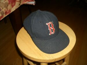Vintage Old Boston Red Sox Fitted 7 1/4 Hat Baseball Cap Devon Leather Band