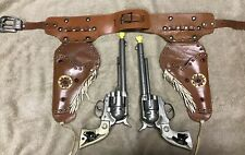 Vintage Hubley Cowboy Toy Cap Gun Set & Fancy*Leather*Studded Dual Holster