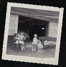 Vintage Photograph Adorable Little Children Standing Outside in Front of Garage