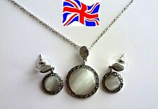 Silver Ancient Style Circular Opal Pendant Necklace Earrings Jewelry gift set