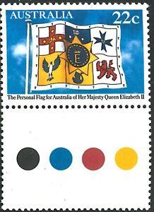 Australia MNH Last 1981 QE2 22c Stamp + Color Tab Royal Flag State Emblems Issue