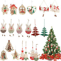 Christmas Snowflakes Wooden Pendants Xmas Tree Ornaments Home Hanging Decoration
