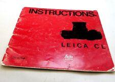 Leica CL Télémètre Wetzlar Appareil Photo Instructions Guide Manuel Anglais