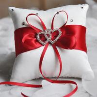 Wedding Party Pillow Cushion Double Heart & Diamond Engagement Ring Box Bearer