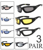 4a841274da8 3 PAIRS Choppers Padded Foam Wind Resistant Sunglasses Motorcycle Riding  Glasses