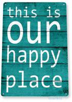 Happy Place Kitchen Beach Cottage Farm Rustic Metal Decor Tin Sign B823