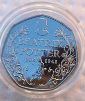 """2016 Beatrix Potter 150th Anniversary 50p """" UNCIRCULATED COIN IN COIN CAPSULE """""""