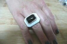Large ITALIAN CABOCHON WHITE & BLACK AGATE 925 SILVER STATEMENT RING SZ L 6