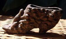 Antique Vintage Bronze Boot Shoe Frog Toad Pin Cushion Brush Match Holder Meiji