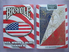 Rare Bicycle Red, White & Blue Deck Series 6 Playing Cards Magic Oval Design