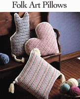 Crochet Pattern ~ FOLK ART PILLOWS Cat, Heart & Square Pillow ~ Instructions