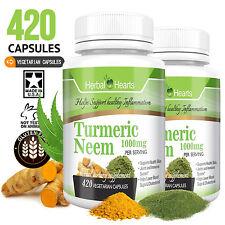 #1 Turmeric Curcumin and Neem root 1000 mg 420 vegetarian capsules Herbal hearts