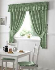 Rideaux et cantonnières verts prêt à l'emploi en polyester pour la cuisine