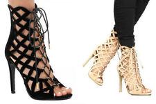 Faux Suede Stiletto Geometric Heels for Women