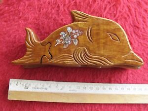 Beautiful dolphin  wooden puzzle trinket box jewelry box with secret item m