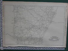 1922 LARGE AMERICA MAP ~ ARKANSAS MILEAGE RAILROADS ELECTRIC MAIL ~ RAND MCNALLY