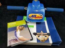 Vintage Blue Ab Slide & New Blue Foldable Yoga Mat Abdominal Workout Set w/Dvd