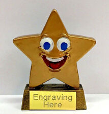 Star Smiley Face Trophy FREE ENGRAVING + FREE P&P