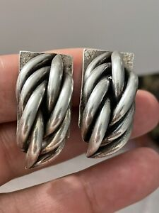 Stunning Chunky Vintage 925 Silver Modernist Clip On Statement Earrings