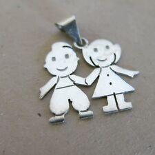 Sterling Silver Pendant 2 Children 1.4g [4049]