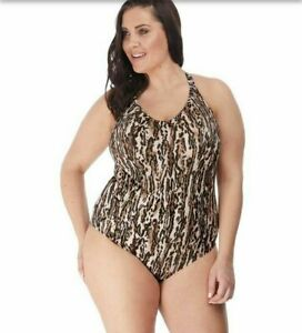 Elomi Fierce Animal Print Moulded Swimsuit Size 16 Rrp £79