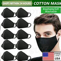 1~50 PCS Unisex Cotton Cloth Face Mask Reusable Washable Masks Cover Black Lot~