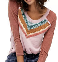 Free People Spring Bound Crochet Paneled Relaxed Fit Shirt Mauve Size Top XS NWT