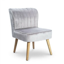 Velvet Oyster Occasional Chair Fluted Retro Bedroom Living Room Seat Gray