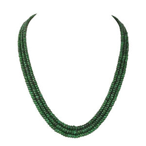 286.60Ct Round Shape Natural Green Cabochon Emerald Three Row Beaded Necklace