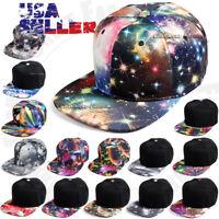 Galaxy Baseball Cap Snapback Adjustable Hat Hip Hop Flat Brim Print Mens