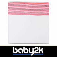 Flat Top Cot Bed Sheet 100x150cm Baby Children White with Coral Pink Hearts BNIP