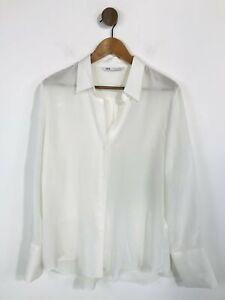 Zara Women's Silk Blouse   L UK14   White
