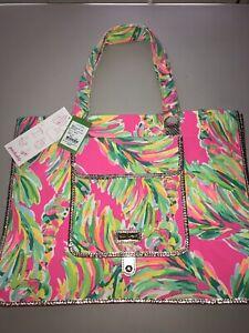 Lilly Pulitzer NWT Sunbathers Canvas Foldable Beach Tote Bag Shady Lady $98