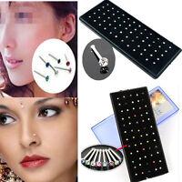 60x Crystal Rhinestone Nose Ring Bone Stud Stainless Steel Body Piercing Jewelry
