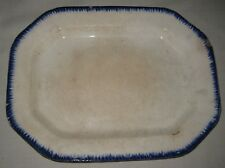 LARGE STAFFORDSHIRE IRONSTONE BLUE FEATHER EDGE WARE PLATTER - EARLY 1800'S